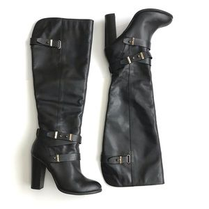 Aldo boots knee high black leather 8 size